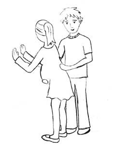 איור אשה הרה נשענת על קיר ובן זוגה תומך בה - נעמי פור
